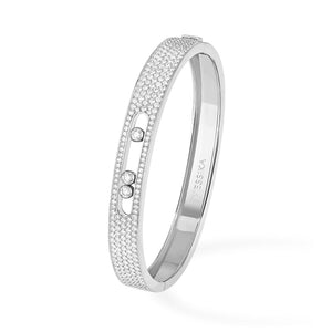 Messika Move Pave Bangle in 18k White Gold with Diamonds - Size Medium