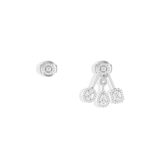 Messika My Twin Trio Earrings in 18k White Gold with Diamonds