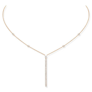 Messika Gatsby Vertical Bar Necklace With Diamonds in 18K Rose Gold