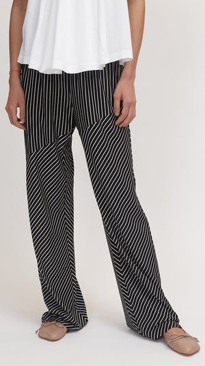 MM6 by Maison Margiela Black and White Striped Pants