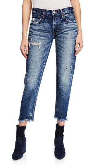 Moussy Kelley Tapered Distressed Denim
