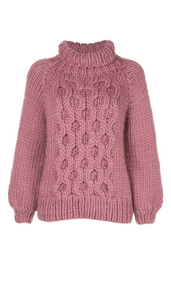 I Love Mr. Mittens Honeycomb High Neck Sweater - Rose