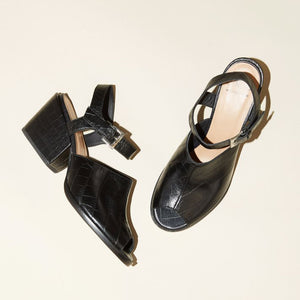 Nico Sandal with Ankle Strap in Black Croc