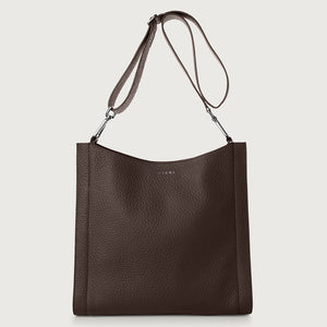 Iris Leather Crossbody Bag - Chocolate
