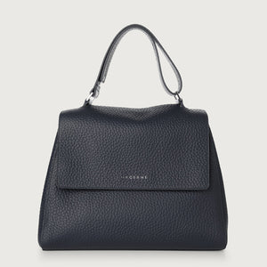 Sveva Medium Leather Shoulder Bag - Navy