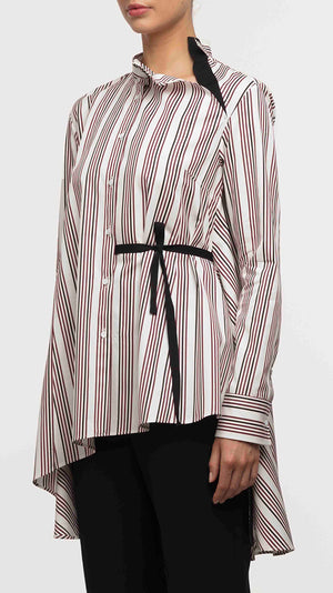 Palmer Harding Split Shirt - Berry Satin Stripes