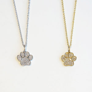 Diamond Dream Signature Collection 14k Gold Paw Print Necklace with Diamonds