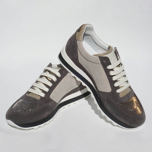 Peserico Sneakers - Color Block Light Grey/Dark Grey Sparkle
