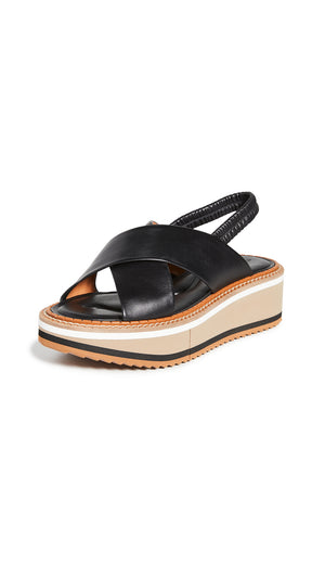 Clergerie Freedom 3 Slingback Platform Sandals - Black Striped