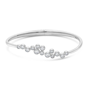 Signature 18k White Gold Bangle with Cluster Diamonds