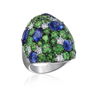 Signature 18K White Gold Dome Ring With Sapphires, Green Topaz And Diamonds