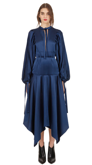 Self-Portrait Satin Midi Dress - Navy