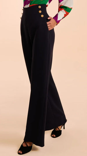Tara Jarmon High Waisted Pilar Trousers - Midnight Blue