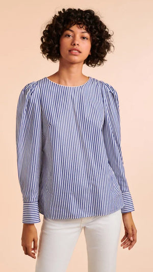 Tara Jarmon Poplin Tammy Top - Blue and White Striped Cotton