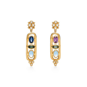 Temple St. Clair 18K Theodora Cartouche Earrings