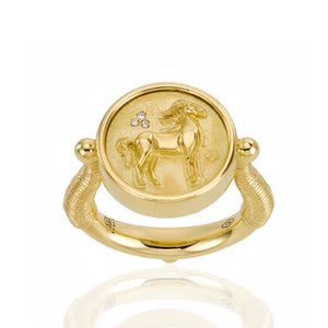 Temple St Clair Horse Coin Ring in 18k Yellow Gold