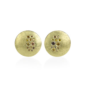 Todd Reed 18k Yellow Gold Disk Earrings With Autumn Diamonds