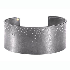 Sterling Silver Cuff Bracelet With Diamonds
