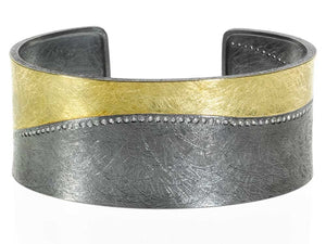 Yellow Gold And Sterling Cuff Bracelet With Diamonds