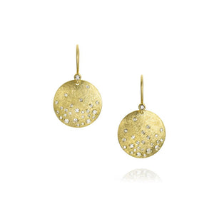 Todd Reed Disk Earrings With White Brilliant Cut Diamonds in 18k Yellow Gold