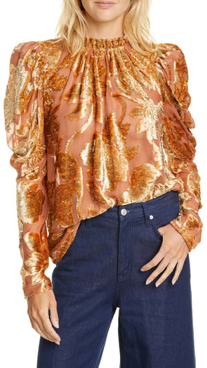 Ulla Johnson Camilla Blouse - Rose Gold Velvet