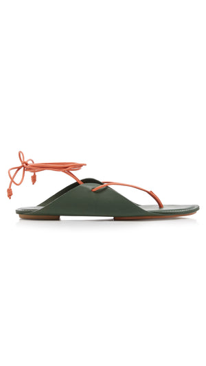 Ulla Johnson Aidy Sandals - Army Green with Orange