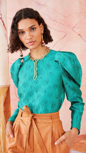 Ulla Johnson Oona Blouse in Turquoise