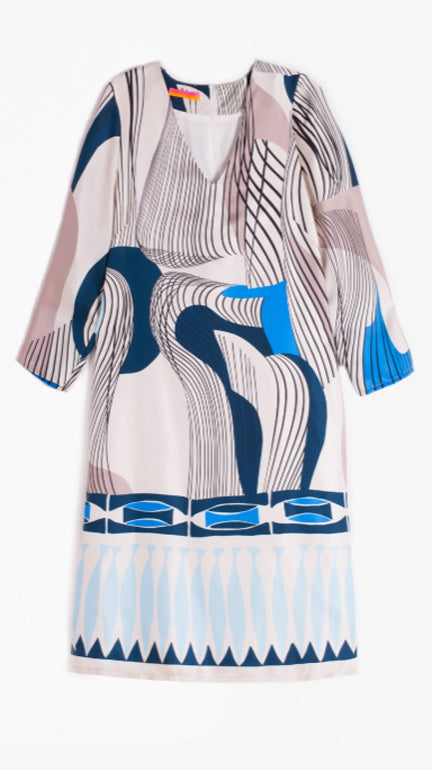 Vilagallo Silk Doris Dress - Como Blue Print