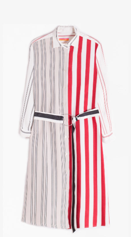 Vilagallo Dover Dress - Red, Black, Cream Stripes