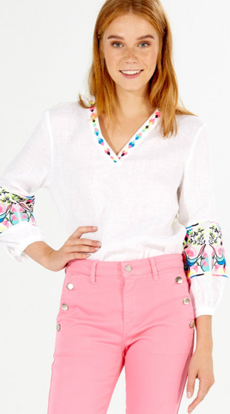 Vilagallo Embroidered Vivianne Shirt - White Linen