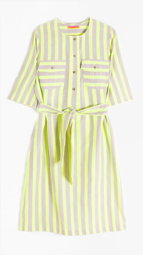 Vilagallo Sabine Dress - Lime Fluor Stripes