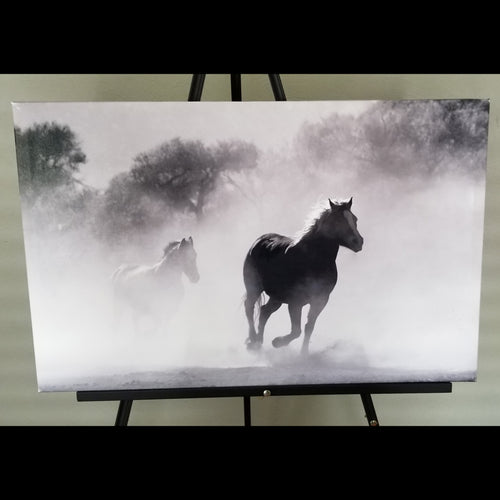 Pre-made Black & White Running Horses (28