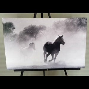 "Pre-made Black & White Running Horses (28"" x 18"")"