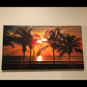 "Pre-made Palms in a Sunset (33"" x 18"")"