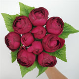 (10 Head) Silk Artificial Roses Simple tied Bouquet