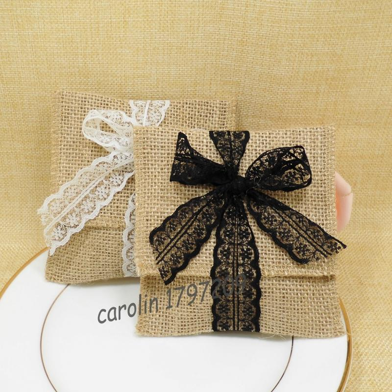 10pcs Burlap Wedding Candy Bags-Solid Charm