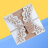 10Pcs Hollow Out Wedding Invitation Card Greeting Card Congratulation Card-Solid Charm