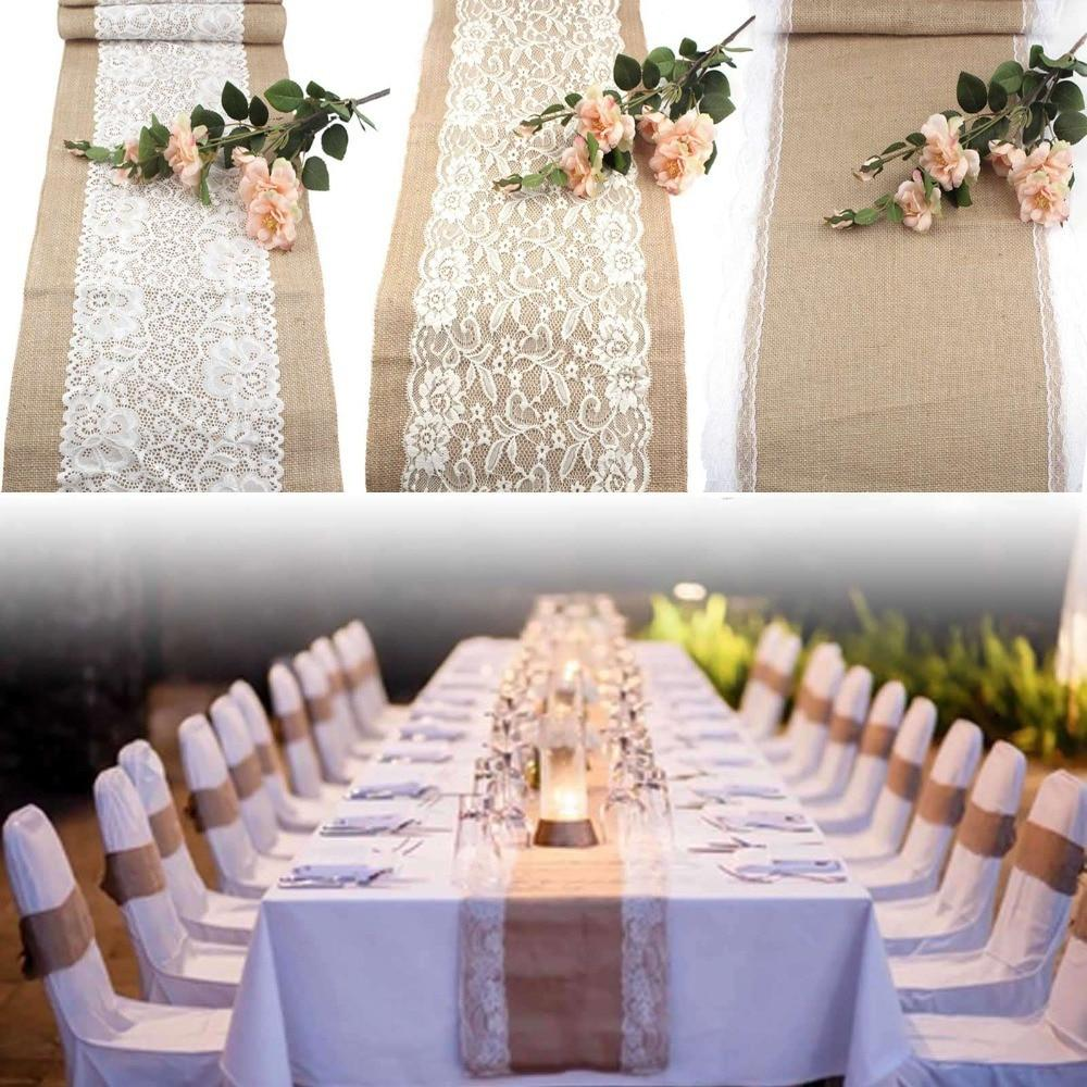 10pcs Wedding Table Runners Vintage Natural Burlap Lace Hessian Table
