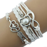 1PC Infinity Love Heart Pearl Leather Charm Bracelet Multiple Colors