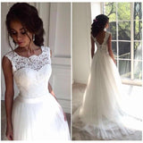 A Line Lace Beach Wedding Dress 2019 Scoop Neck