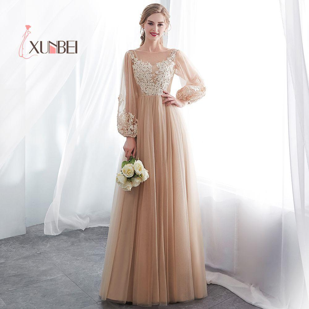 A Line Long Sleeves Champagne Bridesmaid