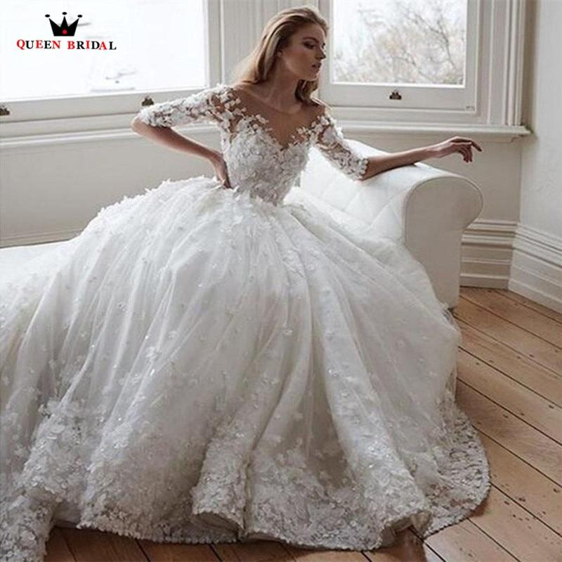 Ball Gown Cap Sleeve Tulle Lace Beaded Sequins Luxury Wedding Dress