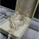 Beautiful Faux Pearl and Crystal Necklace