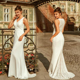 Elegant A Line V Neck Sleeveless Lace Wedding Dress Sweep Train