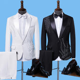 Embroidery Blazers Slim Fit Red White/Black Tuxedos Single Buttons