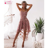 Formal Dress for  Home Coming / Prom Vintage Short front Long Back High Low Embroidery Pink