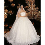 High-end Custom made Lace Beads Wedding Dress