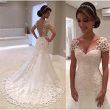 Illusion Backless Lace Mermaid Wedding Dress