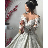 Ivory Wedding Dress Custom Made Lace Pearls Bridal Gown Long Sleeves
