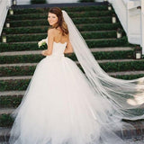 Long Cut Edge White Long Bridal Veils One Layer